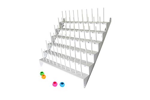 LIN 60 Spool Cone Thread Sewing and Embroidery Organizer Stand Rack Complete with 4 Thread Spool Huggers Holders
