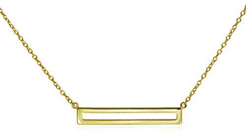 Bar Pendant Necklace .925 Sterling Silver Open Framed Style Gold Tone 16