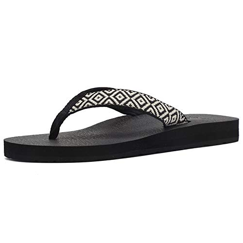 EQUICK Women's Flip Flops Arch Support Yago Mat Insole Sandal Casual Slipper Outdoor and Indoor,U219SLT003,N,Black.Wthie,39 - Fabric Strap Flip Flop