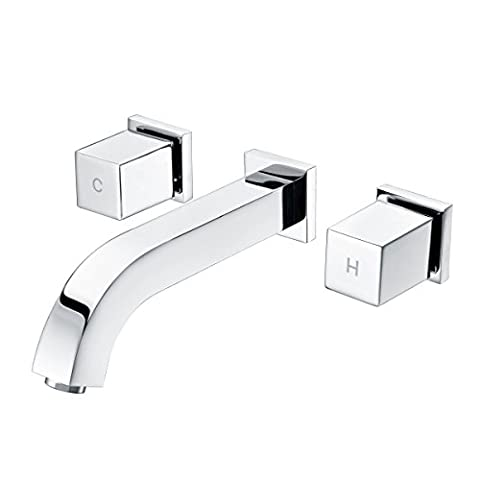 SUMERAIN Two Handle Wall Mounted Widespread Bathroom Sink Faucet Brass Chrome - Wall Mount Widespread Sink