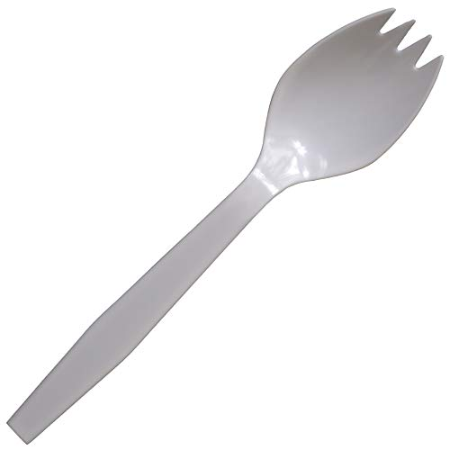 - Daxwell A10002663 Plastic Cutlery, Medium Heavy Weight Polypropylene (PP) Sporks, White, 5.5