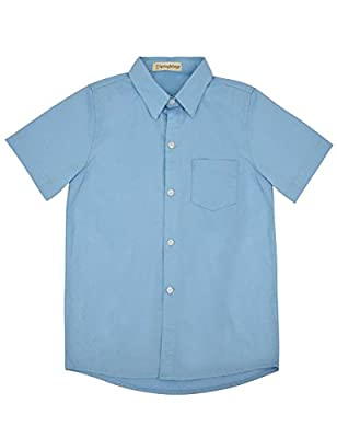 Spring&Gege Boys' Short Sleeve Solid Formal Cotton Twill Dress Shirts