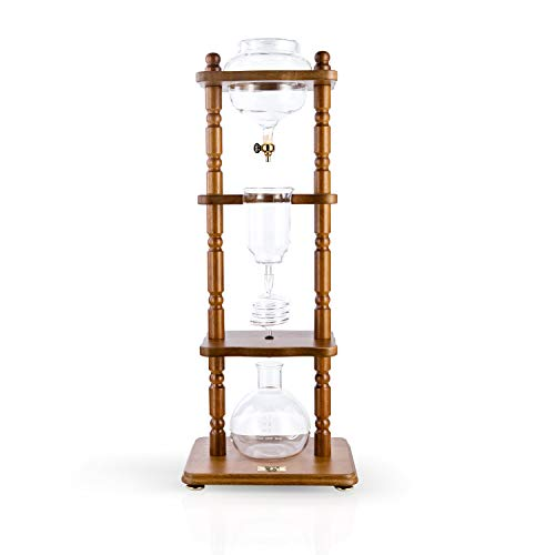 - YAMA Glass YAMCDM8CBR, Brown Frame Cold Brew Drip Coffee Maker, 6-8 cup