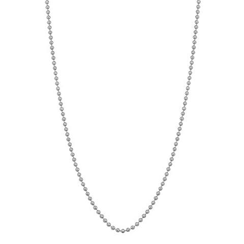 14k White Gold 1mm Diamond-Cut Bead Ball Chain (16 inch) (14k White Gold Ball Chain)