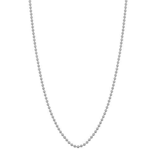Kooljewelry 14k White Gold 1 mm Diamond-cut Bead Chain Necklace (20 inch)