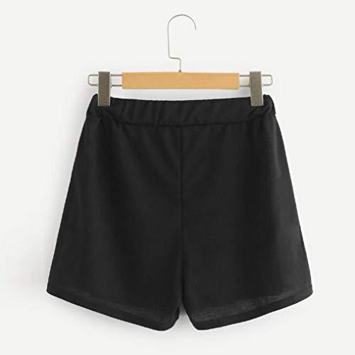 ❤ Pantalones Cortos Sueltos para Mujer, Nail Buckle Mid Waist Drawstring Cintura Ringer Shorts Pantalones Absolute: Amazon.es: Ropa y accesorios
