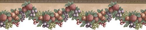 Wallpaper Border Fruits Apple Peach Plum Grapes 15' x 5