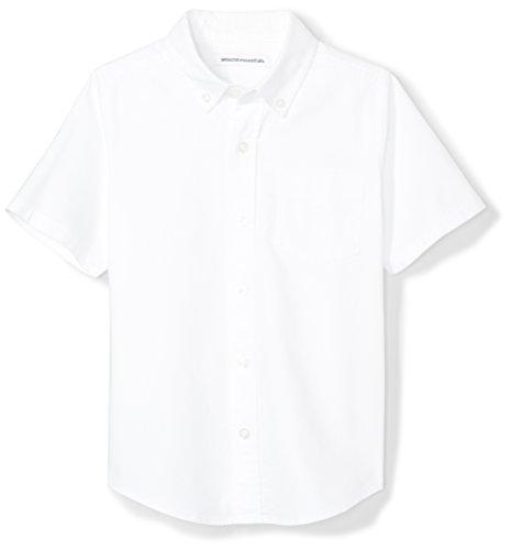 Button Down Short Sleeve Uniform - Amazon Essentials Boys' Short-Sleeve Uniform Oxford Shirt, White, L (10)