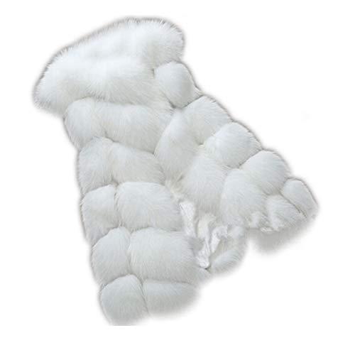 Fausse Fausse Couleur en Taille Manteau Fourrure de d'hiver Veste XL Manches sans Fourrure Fausse White qYIHIwU