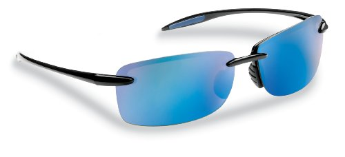 Flying Fisherman Cali Polarized Sunglasses, Black Frame, Smoke-Blue Mirror Lenses