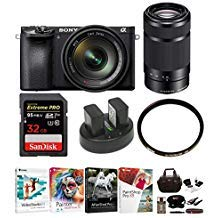 Sony a6500 Mirrorless Camera with 55-210mm Lens and 32GB Deluxe Accessory Bundle