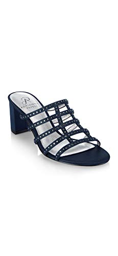 Adrianna Papell Womens Apollo, Navy Satin, 8 M