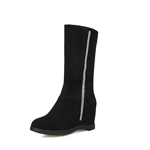 Allhqfashion Women's Frosted Pull-On Round Closed Toe High-Heels Mid-Top Boots Black