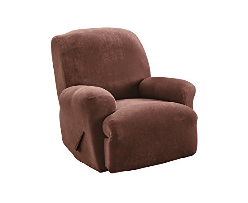 Sure Fit Stretch Pique - Recliner Slipcover  - Chocolate (SF35105) (Large Chair Slipcovers)