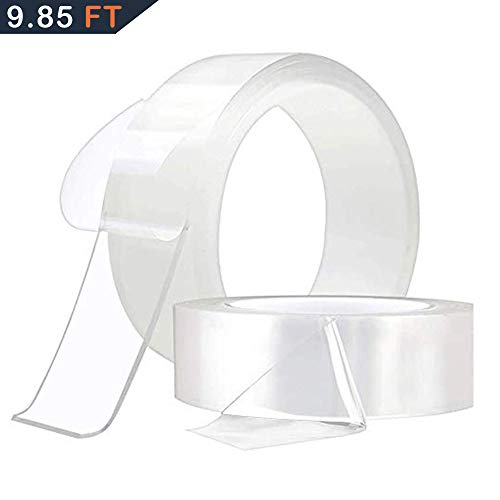 Price comparison product image Nano Magic Tape Double Sided Transparent Tape for Fixing Floor Mats Phone Picture Pen Reusable Clear Gel Anti-Slip Traceless Washable Adhesive 9.85 Ft / 3 Meter
