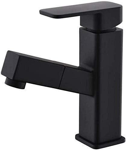 Zxyan 蛇口 立体水栓 キッチンミキサーシンクタップキッチン蛇口流域プル型ロータリー座り、ホットとコールド単穴単一の制御蛇口浴室浴室カウンター洗面の蛇口の下で トイレ/キッチン用