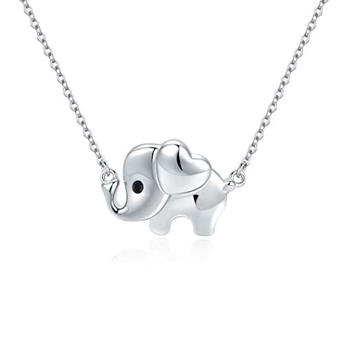(925 Sterling Silver Elephant Necklace for Women Stocking Stuffers Birthday Aniversary Gifts for Her 18in Silver Chain and 2in Adjustable Extender (3 elephant necklace))