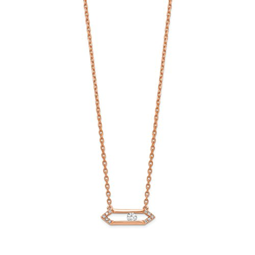 Bar Pendant 14kt Gold Jewelry - ICE CARATS 14kt Rose Gold Sliding Diamond Bar 17.5in Chain Necklace Pendant Charm Fine Jewelry Ideal Gifts For Women Gift Set From Heart