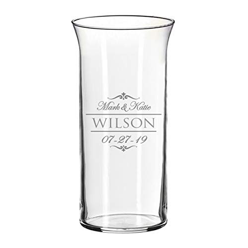 Personalized Glass Flower Vase Table Centerpiece for Wedding - Custom Engraved Couples, Anniversary, Engagement Gift