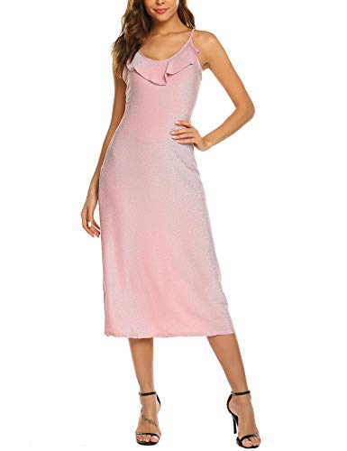 (FineFolk Women's Backless Glitter Sleeveless Slim Long Dress V-Neck Ruffled Summer Evening Club Dress (Pink, X-Large))