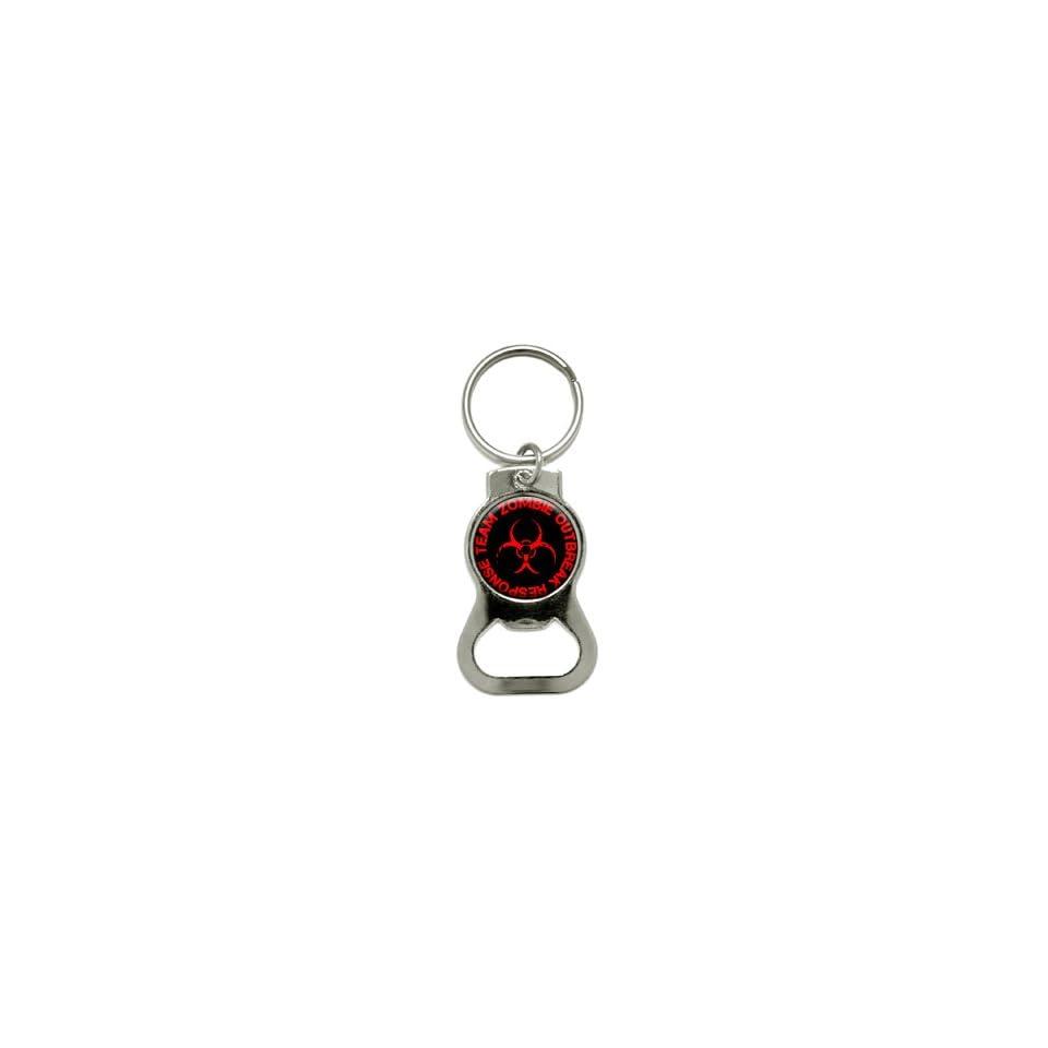 Zombie Outbreak Response Team   Red   Bottle Cap Opener Keychain Ring