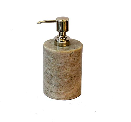Stone Made Natural Stone Liquid Soap Dispenser by Wigano.Stone Soap Dispenser with Chrome Polish Pump Ideal for Room Bathroom, Luxury Hotel Bathroom (Brown) (Dispenser Soap Natural Chrome)