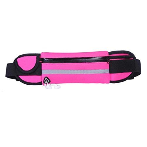 livecity Unisex Wasserdicht Outdoor Running Sport Handy Reflektierende Taille Pack Tasche rosarot
