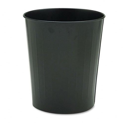 Safco : Fire-Safe Wastebasket, Round, Steel, 23.5 qt, Black -:- Sold as 2 Packs of - 1 - / - Total of 2 Each ()