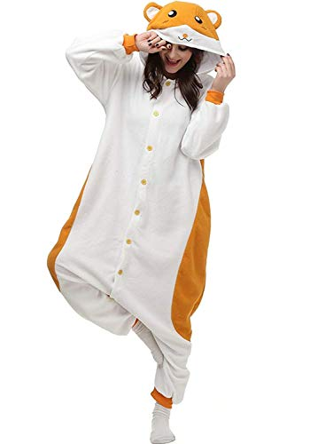 Unisex Adult Pajamas Animal Pajamas Onesies Cosplay Halloween Party Wear (L (Height:5'7''-5'10''/170cm-178cm), Hamster)