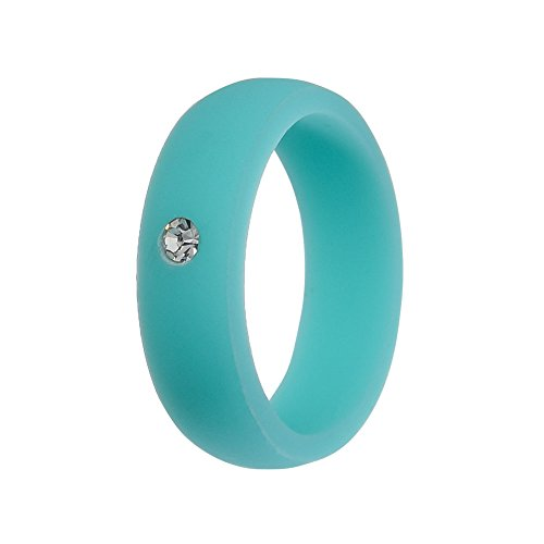 Simpleonly Women Silicone Wedding Band with Rhinestone Diamond, Blue Rubber Bands Elastic Non Metal for Mechanic Workout, Athlete Exercise, Sport ()
