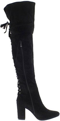 ChaussMoi Aves zancudas de la mujer negra de espesor 8 cm ven gamuza con tacón de encaje