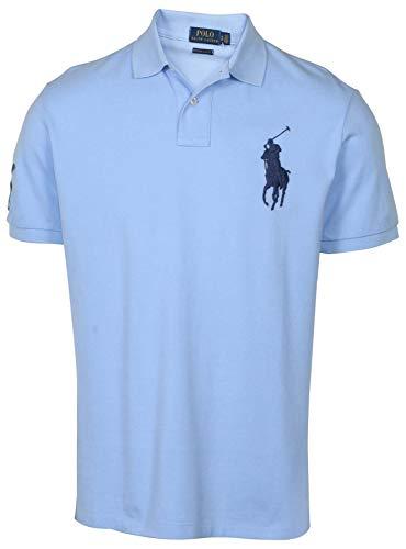 Polo Ralph Lauren Mens Big Pony Custom Slim Fit Mesh Polo Shirt-Light Blue