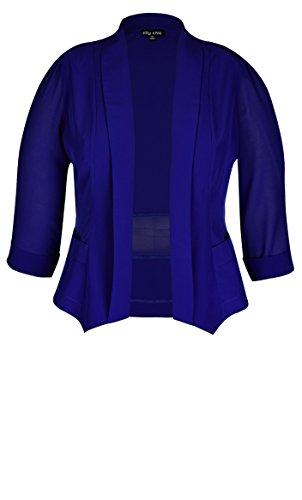 Designer Plus Size Colored Drapey Blazer Jacket - Pool - 24 / XXL | City Chic