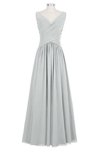 CuteShe Women's Long Chiffon Straps V-neek Bridesmaid Dresses Silver US Size 18