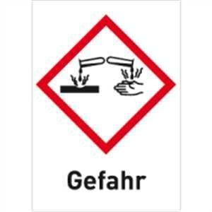 Gefahrstoffetiketten Ätzwirkung (GHS 05) mit Zusatztext darunter: Gefahr 2,6 x 1,8cm Folie LE = 30 Etiketten