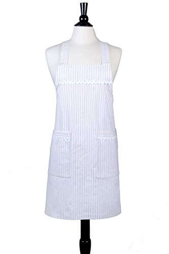 Japanese Crossback Apron Canvas - Farmhouse Cream and White Ticking - Womens Vintage Retro Style Pinafore Kitchen Apron - Two Large Pockets