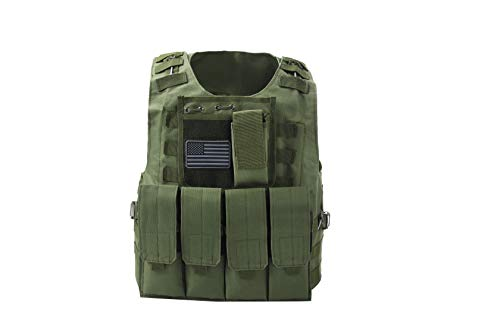 Tactical Airsoft Paintball Vest, Mil Spec 1000D Nylon PALS Molle Modular w/ 4 Mag Pouches, Side Pouch, Chest Mag Pouch+ Free US Flag Patch ... (Green)