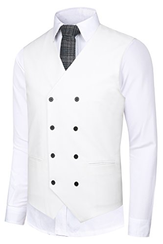 Custom Fit Pinstripe Suit - Hanayome Men's Suit Vest Double Breasted V-Neck Solid Regular Fit Business Waistcoat VS02-W (Beige,S)