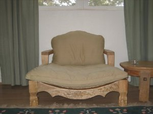 Raja Royal Meditation Chair - Natural Finish with Flax Cushion (Rattan Meditation Chair)