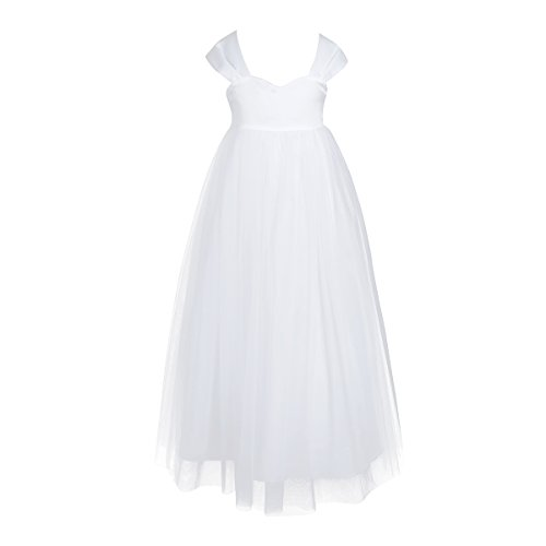 White Princess Dress (YiZYiF Little Girls High-waisted Wedding Long Junior Bridesmaid Party Gown Flower Girl Dress White)