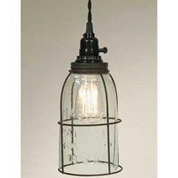 Pendant Lamp, Rustic Open Bottom Caged Quart Mason Jar, GREEN RUST