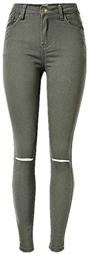 Tear Normale W Jeans Unique Grün2 Bobo Denim Vita Donna Stlie Slim Stretch Pantaloni 88 Zxpqvf