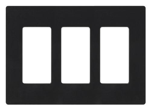 Lutron CW-3-BL Claro 3-Gang Wallplate, Black