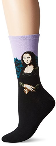 Hot Sox - Calcetines de vestir, Para mujer, Mona Lisa (Lavender), Shoe Size 4-10/Sock Size 9-11