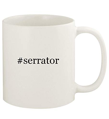 #serrator - 11oz Hashtag Ceramic White Coffee Mug Cup, White