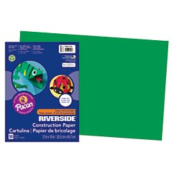Riverside(R) Groundwood Construction Paper, 100% Recycled, 12in. x 18in, Holiday Green, Pack of 50 -