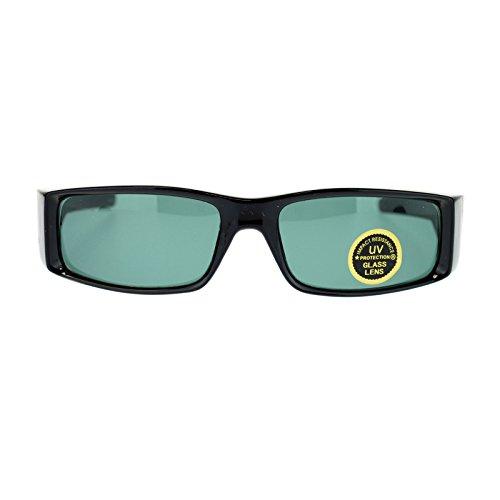 Tempered Glass Lens Narrow Rectangular Sport Biker Gangster Sunglasses Black (Old Biker School Sunglasses)