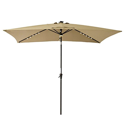 FLAME&SHADE Rectangle Outdoor Patio Umbrella with Solar LED Lights and Tilting for Balcony Shade 6' 6