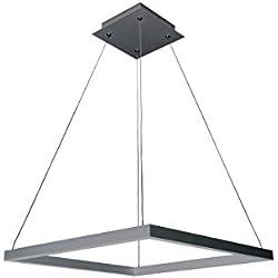 "VONN VMC31620AL Modern Square LED Chandelier Lighting with Adjustable Hanging Light, 19.69"" x 19.69"" x 7.87"", Silver"