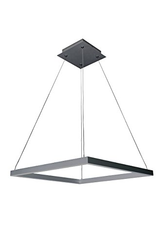 "VONN VMC31620AL Atria 20"", Adjustable Suspension Fixture, Modern Square Chandelier Lighting in Silver Integrated LED, L x 19.75"" W x 120"" (8.75"") H"